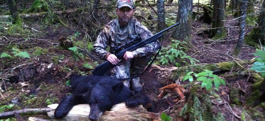 Hunting The First State Author Steven M. Kendus with a 200-lb Maine Black Bear